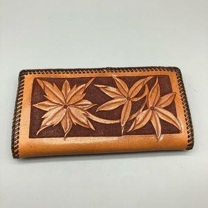 Vintage brown leather hand tooled floral wallet